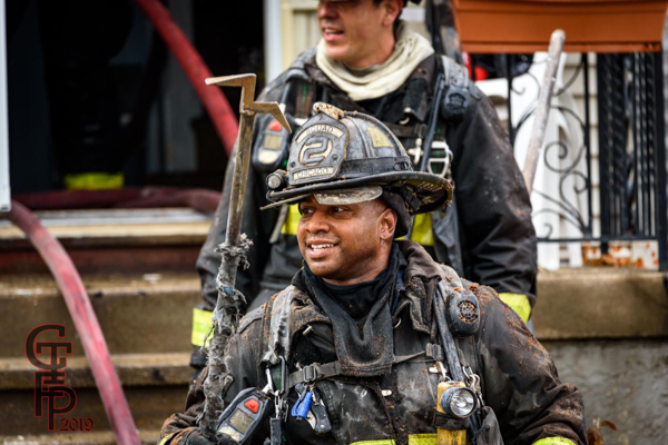 Firefighter with dir gear after a fire