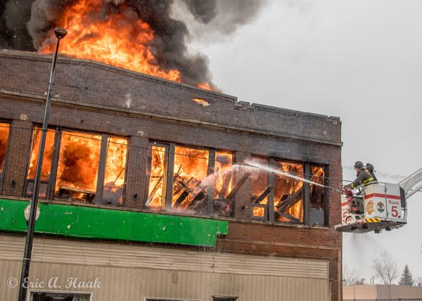 massive flames from commercial building fire