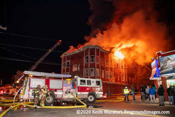 Seagrave fire engine at massive building fire