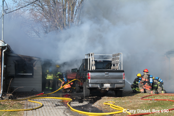 Kitchener Firefighters battle a garage fire