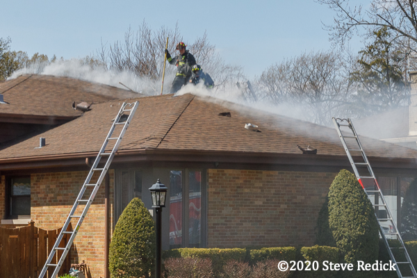 smoke from small attic fire