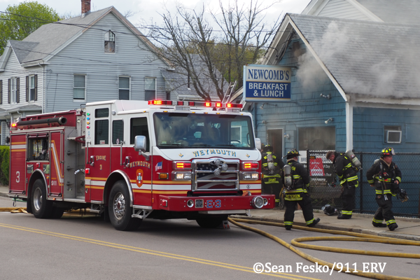 Weymouth fire engine at fire scene