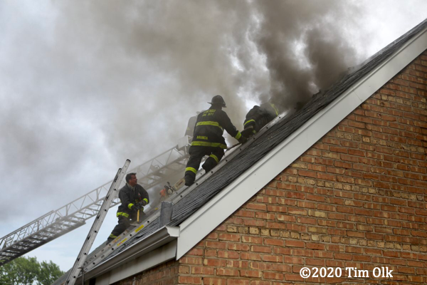 Chicago Firefighters battle a house fire