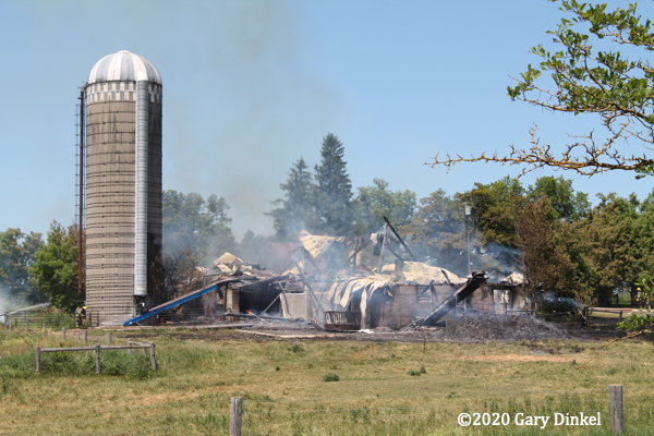 aftermath of barn fire in Ontario