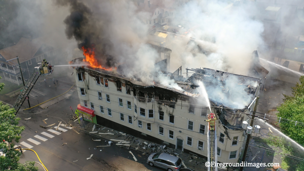 drone footage of massive fire in Waterbury CT