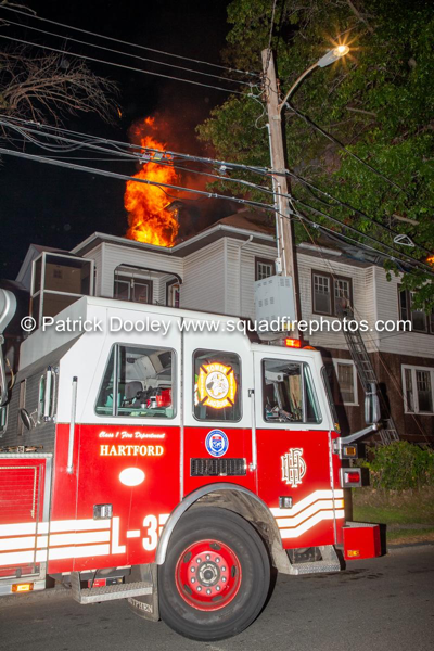 2-Alarm fire at night in Hartford, CT