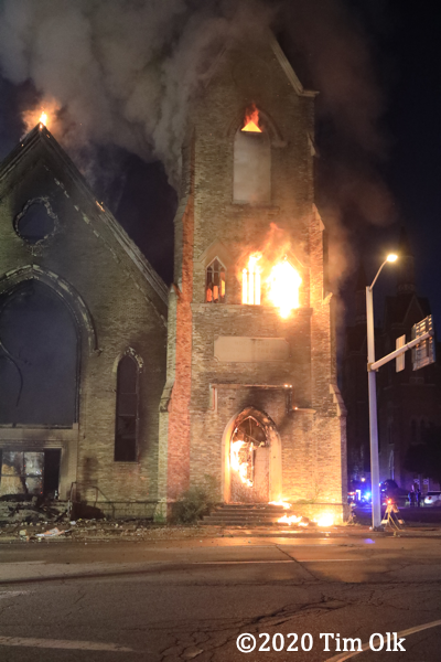 flames engulf old church