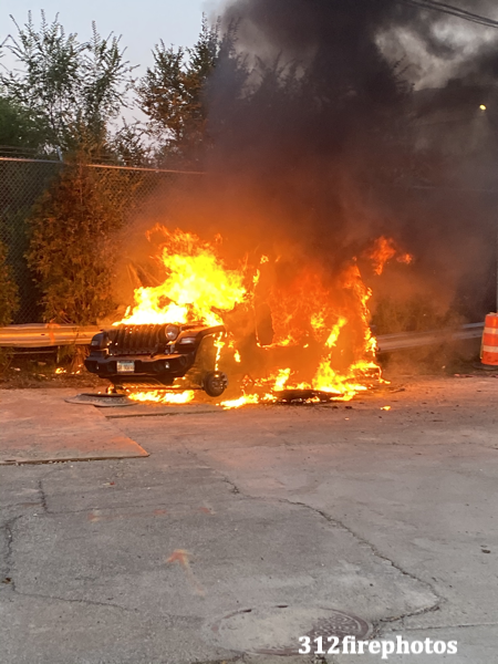car engulfed by fire