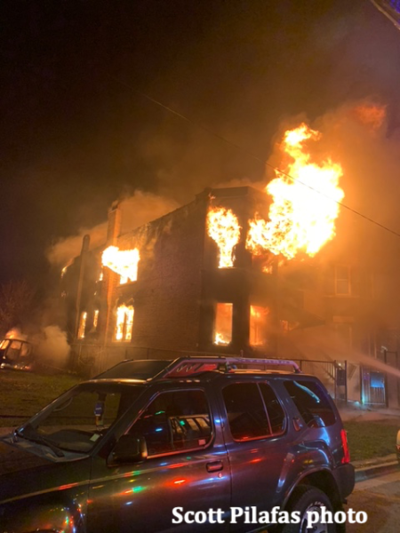 massive house fire at night