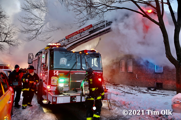 winter house fire scene in Chicago