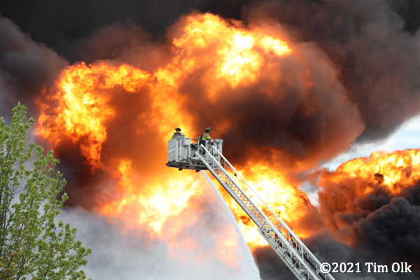 massive fire ball at industrial fire