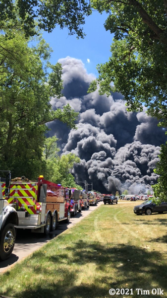 massive smoke at industrial fire