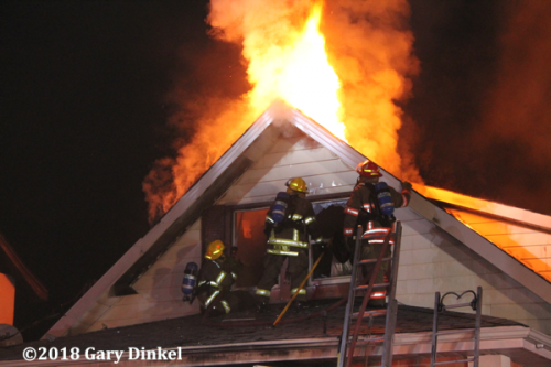 Kitchener Firefighters battle a house fire
