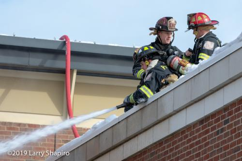 Firefighters on roof with. hose line