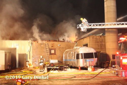 industrial fire scene in Cambridge ON