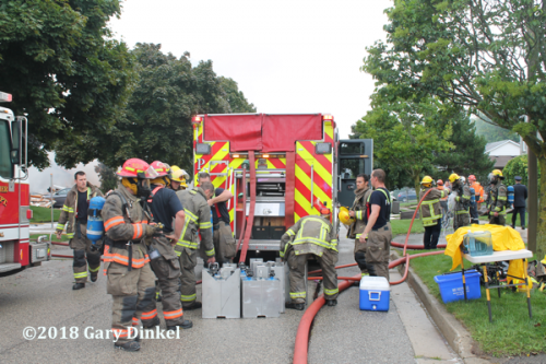 Kitchener Firefighters rehab at fire scene