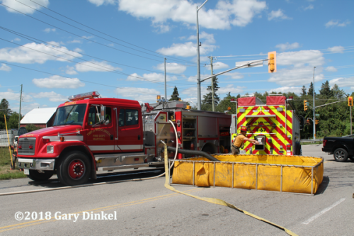 rural water supply at fire scene in Ontario