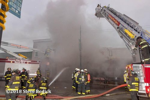 commercial building fire in a store fron