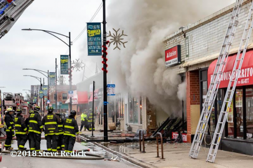 store front fire in Chicago