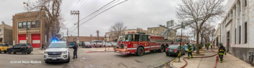 Chicago fire scene near closed fire station
